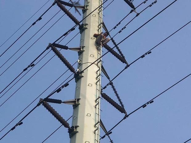 Hà Nội: Thanh niên trèo lên đường điện cao thế, cố thủ ở độ cao hơn 20m - Ảnh 5.