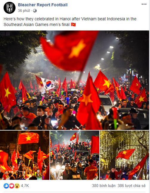 Báo thể thao hàng đầu nước Mỹ đăng ảnh Việt Nam ăn mừng HCV bóng đá SEA Games, choáng ngợp dòng người đổ ra phố - Ảnh 1.