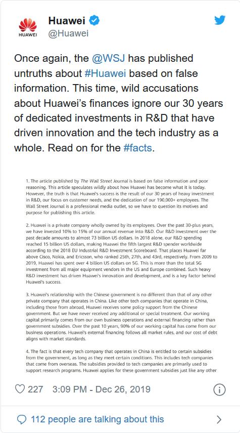 Báo uy tín Wall Street Journal đưa tin Huawei được nhà nước Trung Quốc tài trợ 75 tỷ USD, khiến hãng này nổi điên - Ảnh 1.