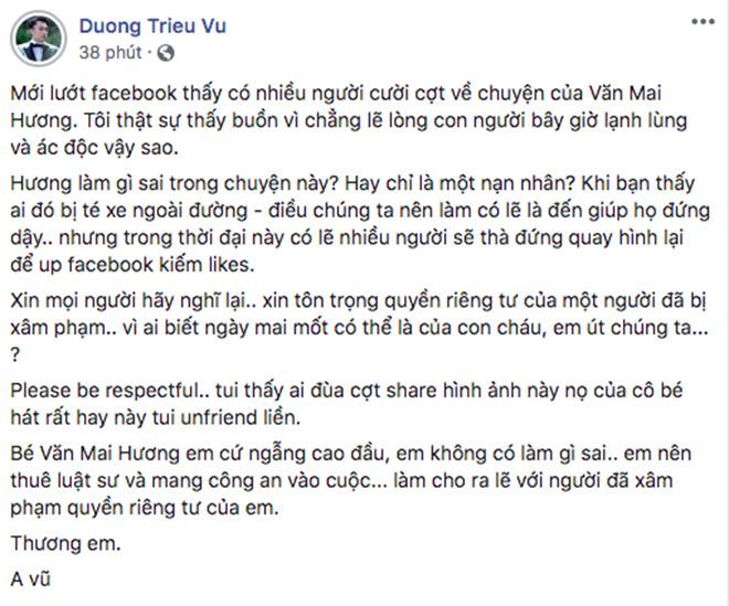 Vụ Văn Mai Hương bị lộ clip nhạy cảm, Dương Triệu Vũ: Em cứ ngẩng cao đầu, em không có làm gì sai - Ảnh 3.