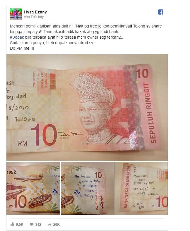 Cô gái đăng tin tìm chủ nhân của tờ tiền đặc biệt, tất cả vì dòng chữ nắn nót viết bên trên - ảnh 1