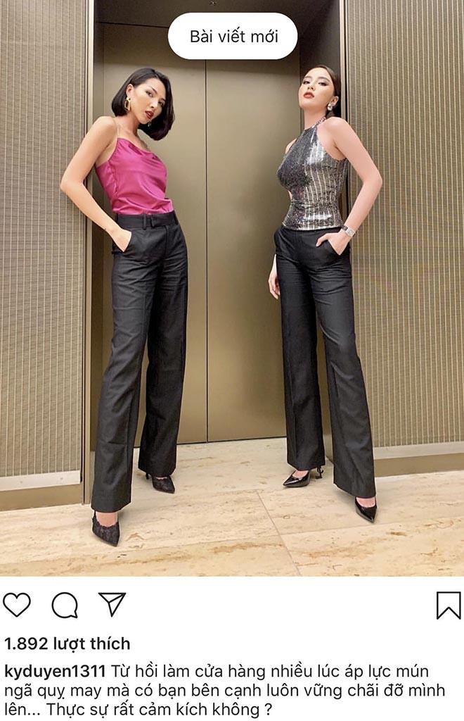 Hoa hậu Kỳ Duyên mặc đồ đôi, tiết lộ rất cảm kích Minh Triệu - Ảnh 1.