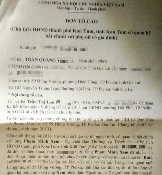 Người chồng tố Phó Bí thư thành ủy Kon Tum quan hệ bất chính với vợ mình tiết lộ thêm chi tiết bất ngờ - Ảnh 3.