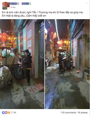 Chẳng xem pháo hoa hay đón giao thừa, cô con gái phụ mẹ đẩy chiếc xe rác cao ngất trong đêm 30 khiến nhiều người xúc động - Ảnh 1.