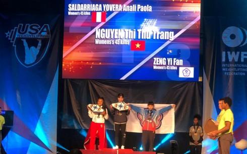 Nguyễn Thị Thu Trang giành 3 HCV ở Giải cử tạ trẻ thế giới 2019 - Ảnh 1.