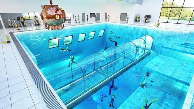 Sắp mở cửa hồ bơi sâu nhất thế giới, chứa 8000 mét khối nước, sâu 45m - Ảnh 1.