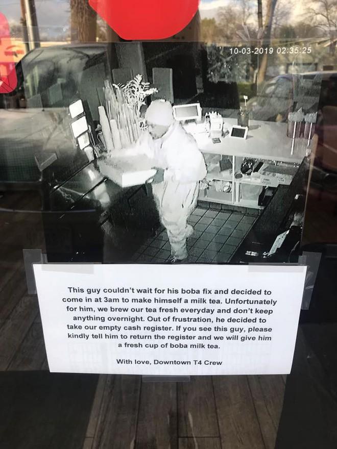 Mỹ: Tên trộm đột nhập vào hàng trà sữa lúc 3h sáng để tự pha 1 cốc - Ảnh 2.