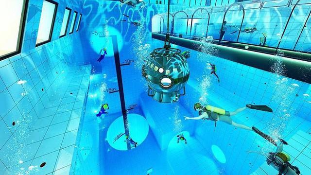Sắp mở cửa hồ bơi sâu nhất thế giới, chứa 8000 mét khối nước, sâu 45m - Ảnh 2.