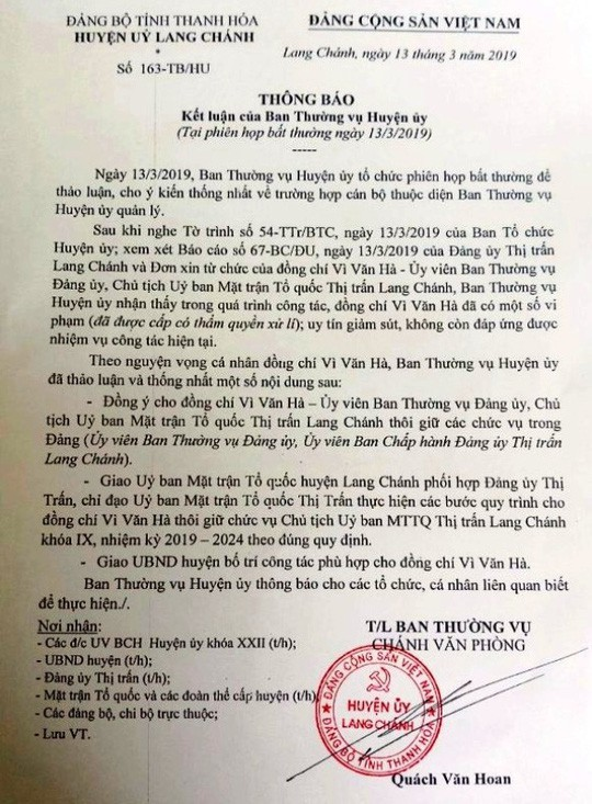 Họp bất thường, cho thôi chức Chủ tịch MTTQ đánh phó bí thư, sỉ nhục dân - Ảnh 1.