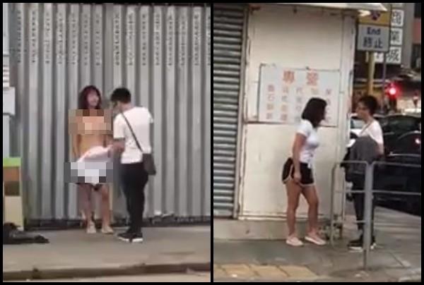 Cãi nhau với bạn trai, cô gái cởi đồ ngay giữa phố đông người - Ảnh 1.
