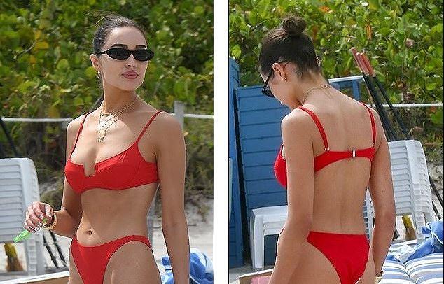 Hoa hậu Hoàn vũ Olivia Culpo rực lửa với bikini đỏ ở biển Miami - Ảnh 1.