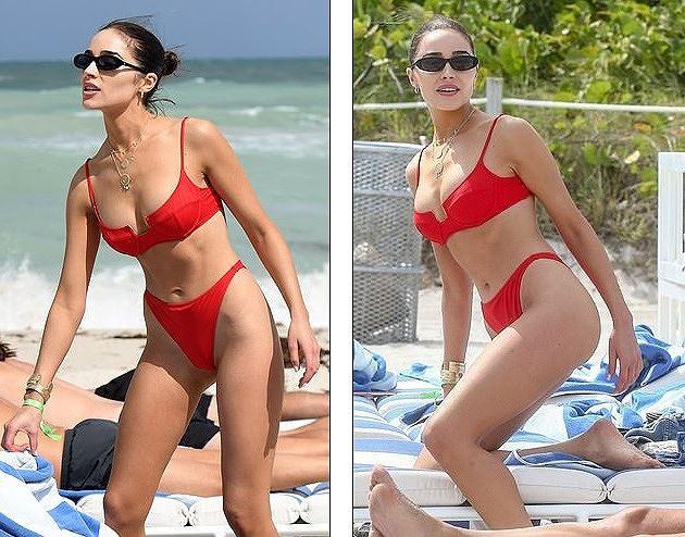Hoa hậu Hoàn vũ Olivia Culpo rực lửa với bikini đỏ ở biển Miami - Ảnh 6.