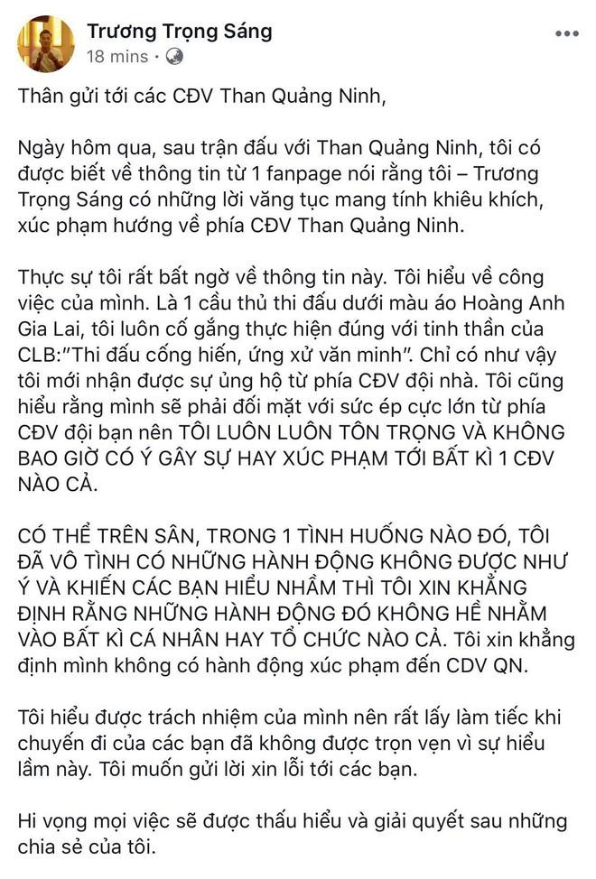 Cầu thủ HAGL lên tiếng thanh minh sau khi bị tố chửi CĐV Than Quảng Ninh - Ảnh 2.