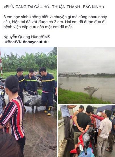 Thực hư thông tin 3 học sinh nhảy từ cầu Hồ xuống sông Đuống tự tử - Ảnh 2.