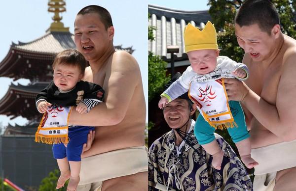 Võ sĩ sumo dụ trẻ khóc để cầu sức khỏe và may mắn tại Nhật Bản - Ảnh 5.