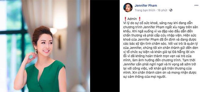 Tình hình của Jennifer Phạm sau khi đột ngột ngất xỉu, đập đầu chấn thương phải cấp cứu - Ảnh 1.