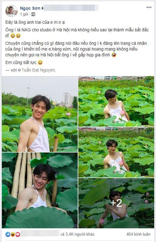 Chàng trai gây cười với bộ ảnh mặc yếm bên hoa sen, nhưng phản ứng của gia đình anh sau đó mới thực sự hài hước - Ảnh 1.