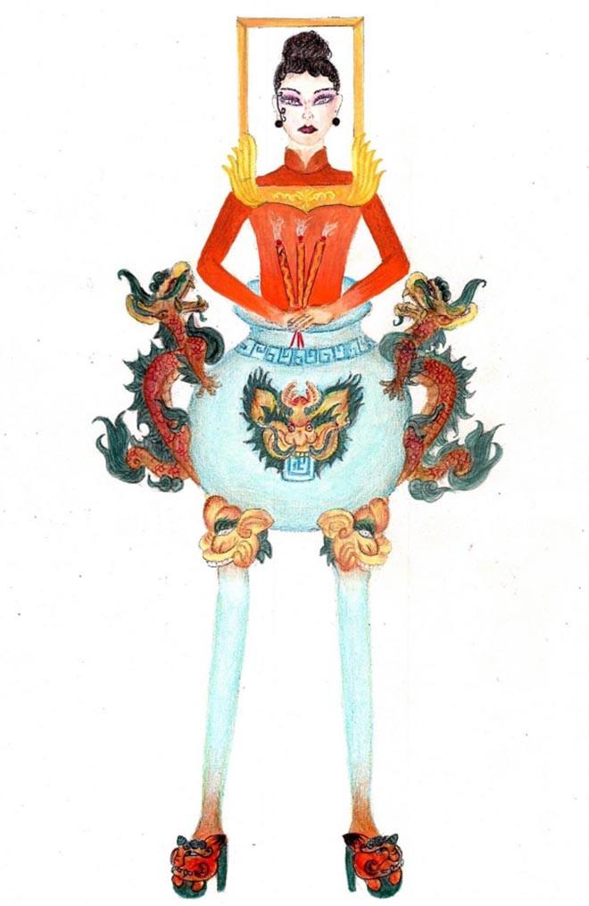 """Sốc trước ý tưởng thiết kế trang phục """"Bàn thờ"""" giúp Hoàng Thùy dự thi Hoa hậu Hoàn vũ thế giới - Ảnh 1."""