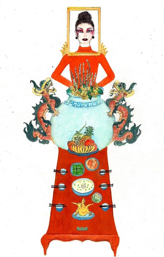"""Hoàng Thùy phản hồi chính thức về trang phục """"Bàn thờ"""" gây tranh cãi - Ảnh 1."""