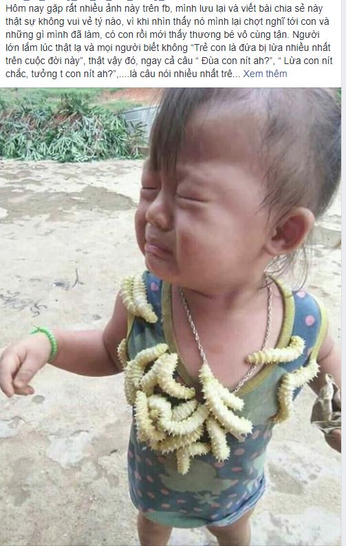 Biểu cảm của em bé khi bị lũ tằm bò lên người gây sốt MXH hôm nay, câu chuyện phía sau gây tranh cãi dữ dội - Ảnh 1.