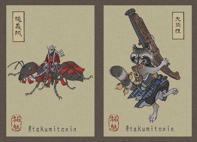 Nghệ sĩ Nhật Bản tái hiện các siêu anh hùng Marvel dưới phong cách nghệ thuật dân gian thời Edo - Ảnh 3.