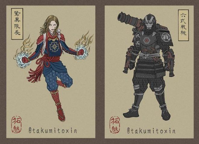 Nghệ sĩ Nhật Bản tái hiện các siêu anh hùng Marvel dưới phong cách nghệ thuật dân gian thời Edo - Ảnh 7.