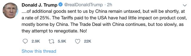 Tổng thống Trump: Mỹ sẽ tăng thuế lên 25% với 200 tỷ USD hàng hoá Trung Quốc từ ngày 10/5 - Ảnh 2.