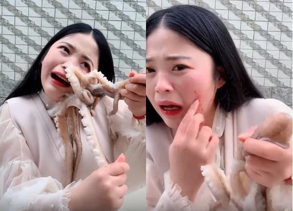 Livestream ăn bạch tuộc sống, cô gái bất ngờ bị bạch tuộc ăn lại và cái kết khiến cư dân mạng phẫn nộ - Ảnh 2.