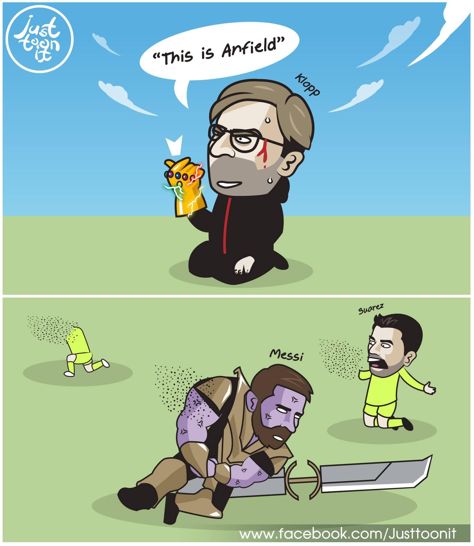 """""""thanos"""" messi - 5996159426607010540005745800964361065332736o 1557272620541372013695 - Ảnh chế: """"Iron Man"""" Klopp búng tay, """"Thanos"""" Messi tan biến vào cát bụi"""