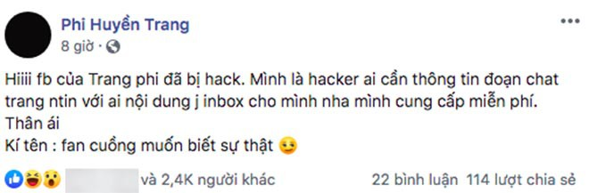 Phi Huyền Trang bị hack Facebook, dọa tung tin nhắn sau nghi vấn lộ clip nóng - Ảnh 1.