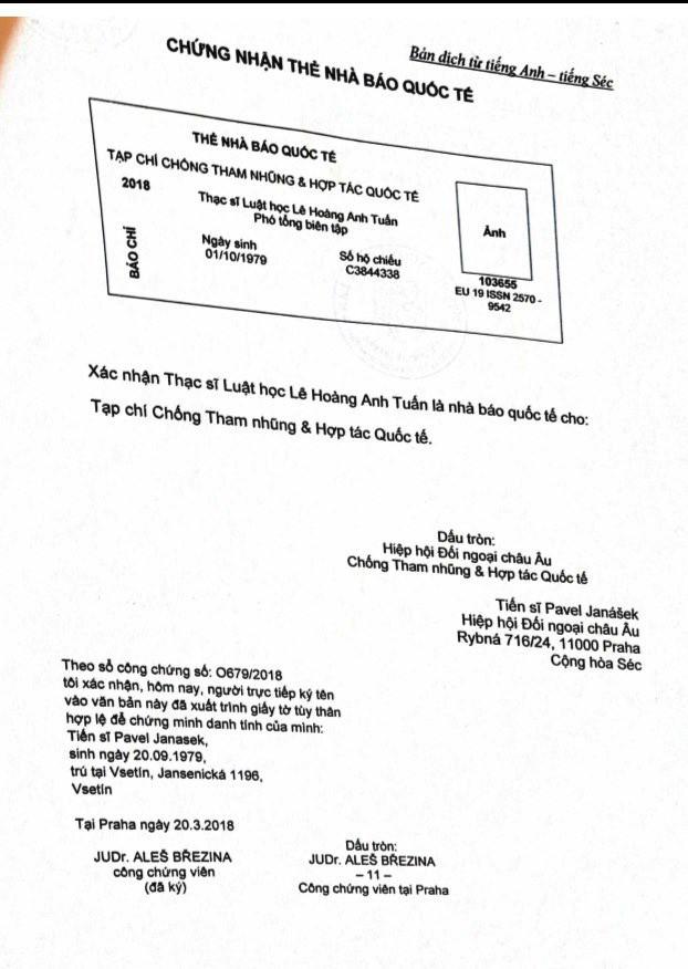 """Lần theo tổ chức cấp thẻ """"nhà báo quốc tế"""" cho ông Lê Hoàng Anh Tuấn - Ảnh 4."""