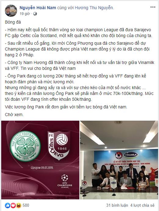 HLV Park nhận 1 tỷ đồng/tháng, doanh nhân Nguyễn Hoài Nam vẫn muốn VFF trả thêm - Ảnh 1.