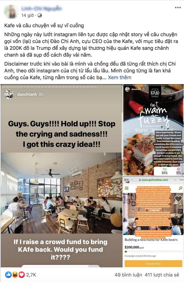 Thông tin cựu CEO Đào Chi Anh gọi vốn cộng đồng để mở lại The KAfe và rất nhiều ý kiến trái chiều - Ảnh 1.