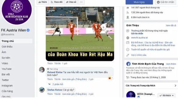 Bị fan Việt tấn công fanpage đội bóng, CĐV Austria Wien than trời - Ảnh 1.