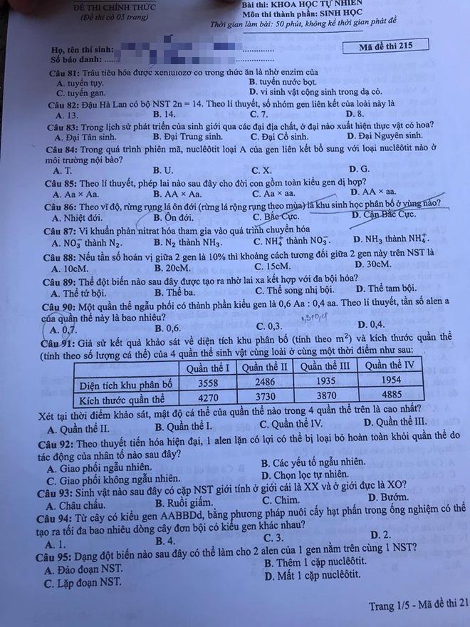Cập nhật gợi ý đáp án thi môn Sinh học THPT Quốc gia 2019 - tất cả 24 mã đề - Ảnh 8.