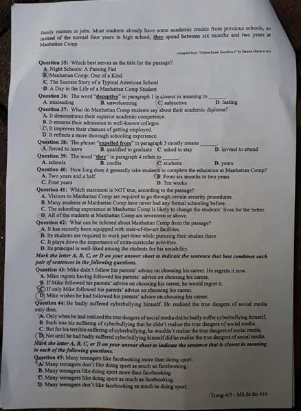 Cập nhật gợi ý đáp án môn tiếng Anh THPT Quốc gia 2019 tất cả 24 mã đề - Ảnh 15.