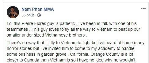Võ sĩ MMA người Mỹ gốc Việt bất ngờ đăng đàn công kích Flores sau trận đấu ở Hà Nội - Ảnh 1.