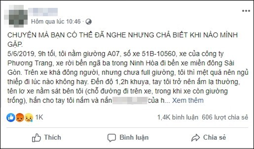Cô gái tố bị phụ xe Phương Trang sàm sỡ nhiều lần, hành khách xung quanh chỉ nhìn mà không lên tiếng - Ảnh 1.