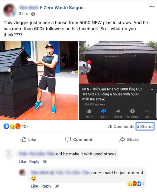 Vlogger đặt mua 5.000 ống hút để làm nhà khổng lồ câu view, cộng đồng bức xúc: Số lượng nhựa này sẽ đi về đâu? - Ảnh 6.