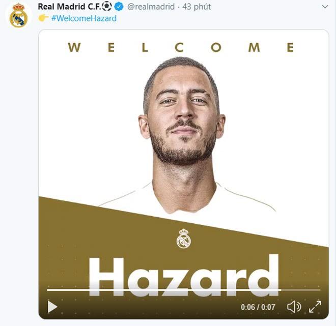 Hazard chính thức cập bến Real, giá 100 triệu euro - Ảnh 1.