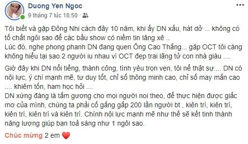 Chúc phúc Đông Nhi và Ông Cao Thắng nhưng lời lẽ của Dương Yến Ngọc khiến cư dân mạng bức xúc - Ảnh 3.