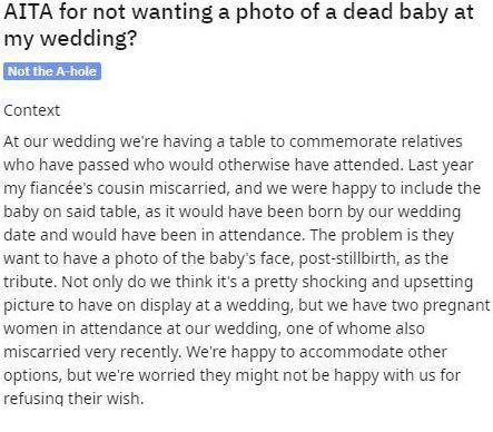 Khách mời muốn đặt ảnh đứa bé chết non của mình lên bàn tưởng niệm vào ngày cưới của cô dâu chú rể khiến dân mạng tranh cãi dữ dội - Ảnh 1.