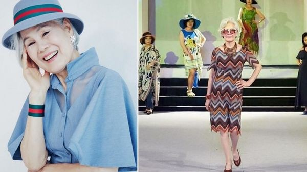 Choi Soon-Hwa, người mẫu chuyên nghiệp lớn tuổi nhất ở Hàn Quốc, tự tin với dáng vóc cân đối ở tuổi 77.