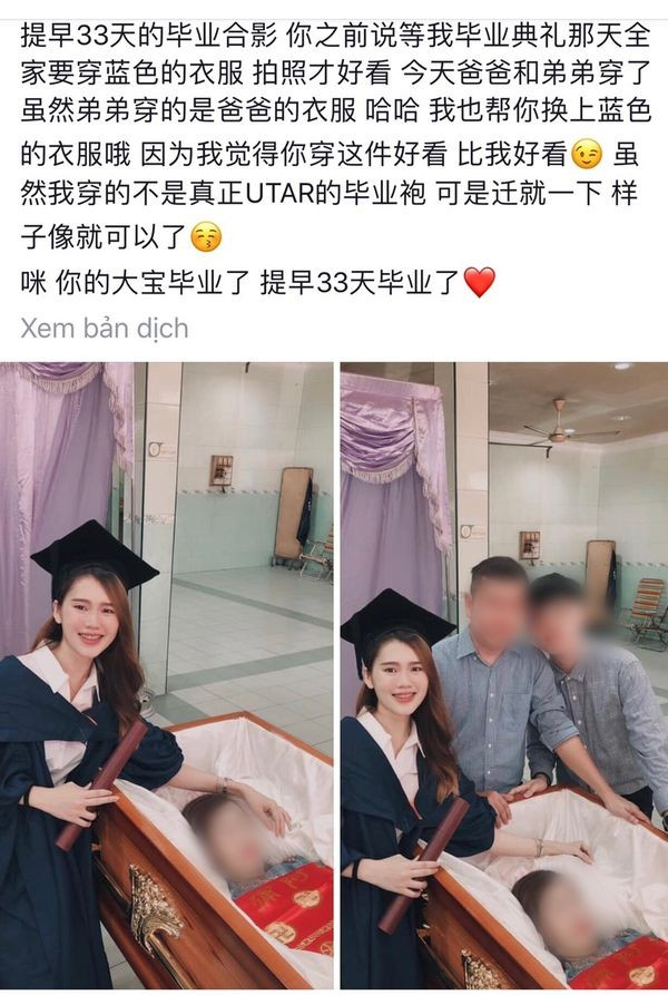 Cô gái chụp ảnh tốt nghiệp bên cạnh thi thể của mẹ khiến người ta xúc động - Ảnh 1.