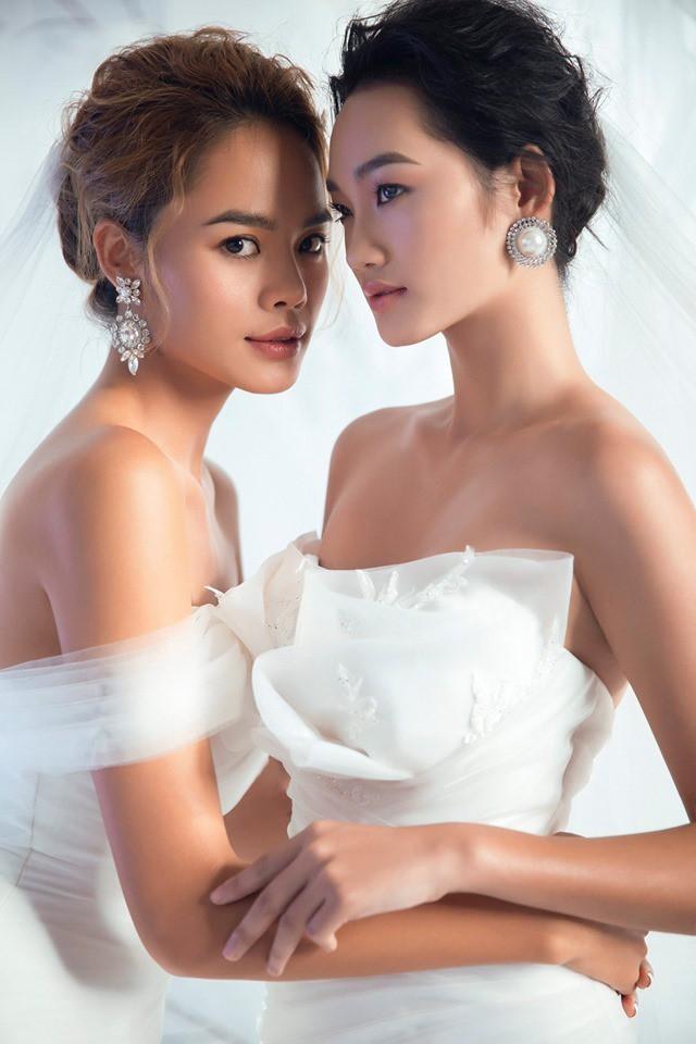 Á quân The Face Quỳnh Anh và Thu Hiền đọ sắc khi mặc váy cưới - Ảnh 2.