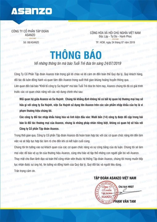 Chủ tịch Asanzo Phan Văn Tam nói gì về Công ty Sa Huỳnh? - Ảnh 2.