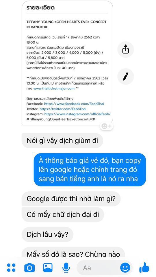 """Nhờ sinh viên ngôn ngữ dịch hộ tiếng Thái không được, fan Kpop lên """"giọng mẹ"""": Đồ rẻ tiền, Google được thì nhờ làm gì! - Ảnh 1."""