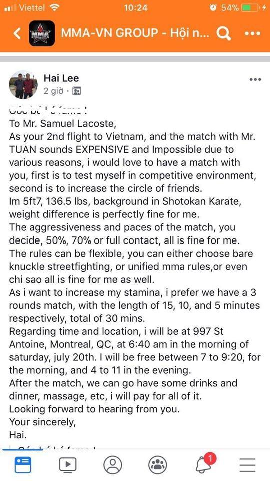 """Sư đệ Flores tuyên bố """"chấp hai chân"""" để tỉ thí khi bị võ sĩ karate kém 20kg thách đấu - Ảnh 2."""