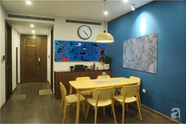 Căn hộ 90m² đẹp hiện đại với điểm nhấn màu xanh rất nam tính, có chi phí thi công 280 triệu đồng ở Hà Nội - Ảnh 8.