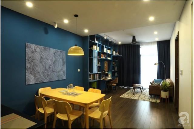 Căn hộ 90m² đẹp hiện đại với điểm nhấn màu xanh rất nam tính, có chi phí thi công 280 triệu đồng ở Hà Nội - Ảnh 9.